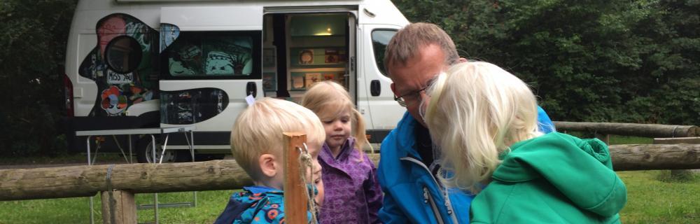 Børn fra dagpleje ser på udstoppet muldvarp
