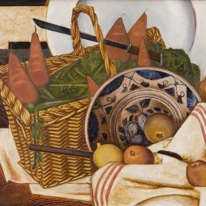 "Georg Jacobsen, ""Nature Morte (Au panier des carottes), 1921. Ribe Kunstmuseum"