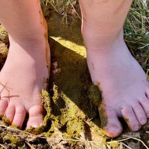 barn med bare fødder træder i kokasse